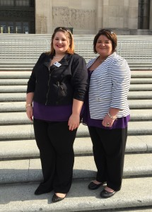Chez Hope Legal Advocate Taylor Robison and Executive Director Cherrise Picard on the steps of the Capitol for LCADV's Purple and Teal Day at the Capitol