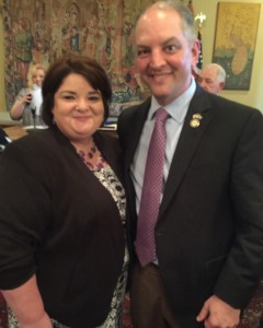 Cherrise Picard and Governor John Bel Edwards at the Purple and Teal Reception